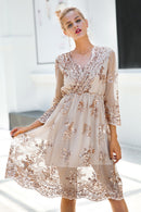 V neck long sleeve sequin party dresses