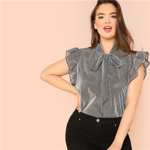 Grey Ruffle Trim Tie Neck Plus Size Thin Blouses