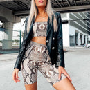 snake skin crop top sexy tank top shorts 2 pieces sets