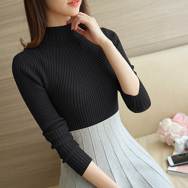 Turtleneck Sweater Knitted Pullovers Long Sleeve