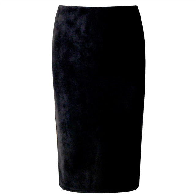 Suede Midi Pencil Skirt High Waist Wrap Office Work