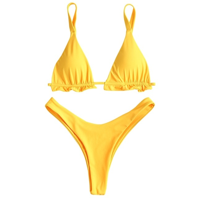 High Cut Leg Frilled Two-pieces Bikini Set