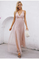 Mesh pink lace dress Elegant v neck
