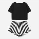 Black Graphic Tee & Frilled Striped Shorts PJ