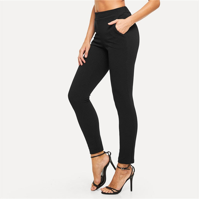 Elastic Waist Black Striped Mid Waist Skinny Pencil Pants