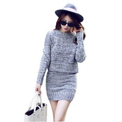 2 Pieces Sweater Dress Set Women Long Sleeve Office Wear