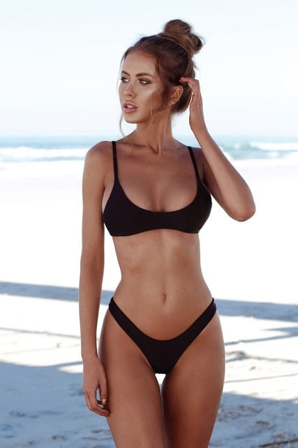 Brazilian Bikini Push Up Swimsuit Solid Beachwear