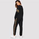 Panel Pullover O-neck Sweatshirt and Sweatpants Set