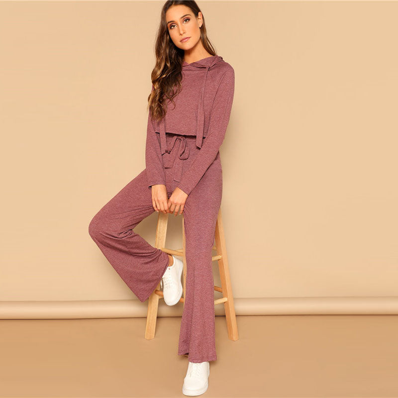 Drawstring Crop Hoodie And Pants Set 2 Piece