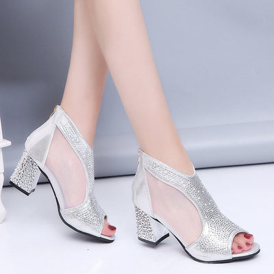 High Heels Diamond Summer Square Shoes