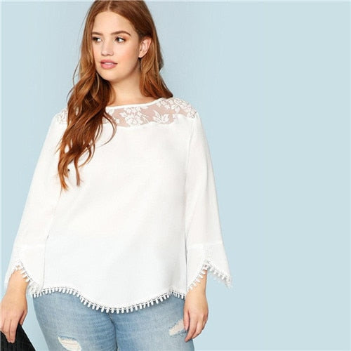 Plus Size Lace Shoulder Trim Flare Sleeve Women Blouses