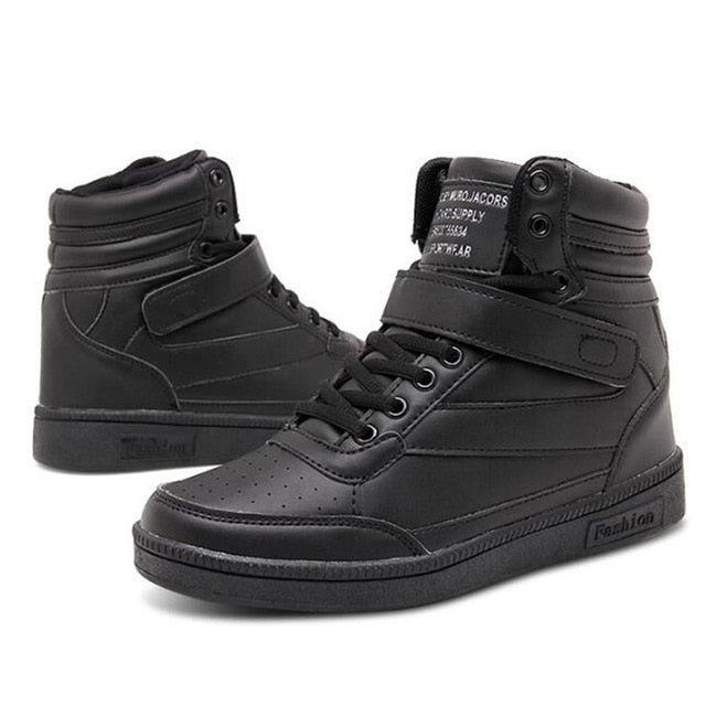 High Top Hook Loop Lace Up Platform Casual Shoes