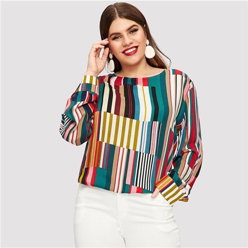 Striped Curved Hem Plus Size Elegant Multicolor Longline Blouses