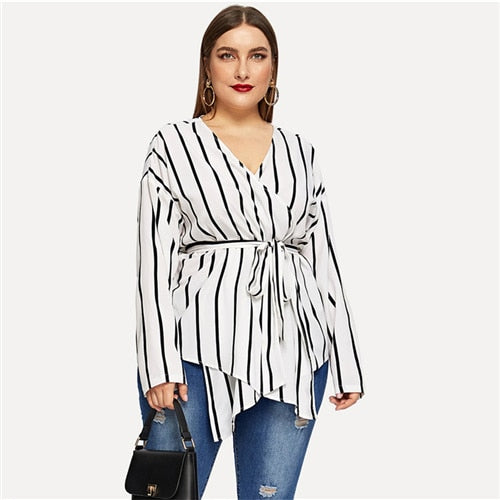 White Asymmetrical Plus Size V-neck Belted Striped Blouses