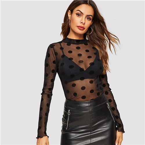 Polka Dot Sheer Mesh Transparent Sexy
