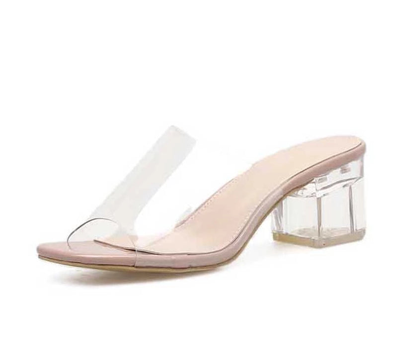Leisure Crystal Square heel slippers