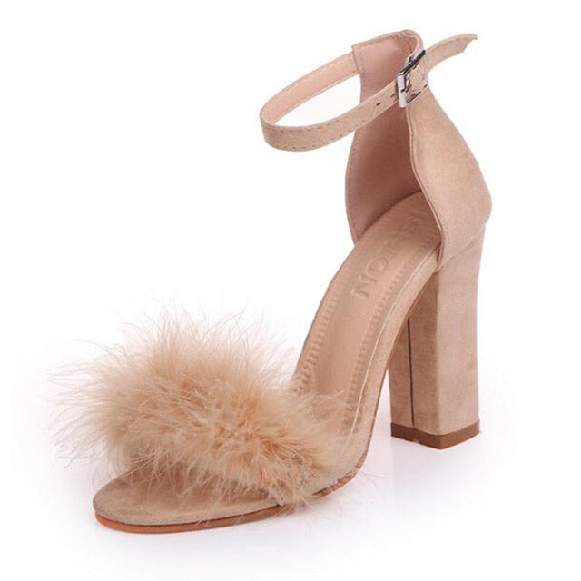 Ankle Strap High Heels Faux Fluffy Rabbit Fur