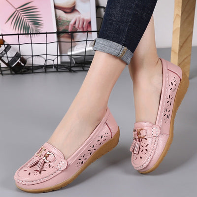 Genuine Leather With Low Heels Slip On Casual Flat Shoes