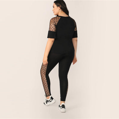 Plus Size Black Star Mesh Insert Sleeve Top And Leggings Set