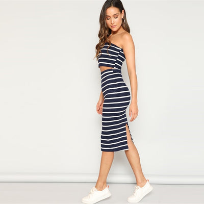 Sexy Striped Bandeau Crop Top And Slit Hem Skirt