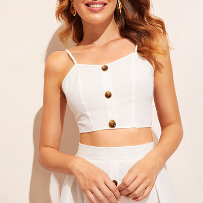 White Knot Back Crop Cami With Button Front Skirt 2 Piece Set