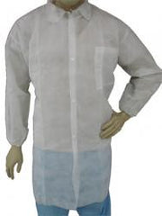 Epic Disposable Cleanroom Lab Coat, Class 10,000, White Polypro, Elastic Wrist