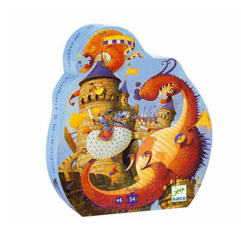 Djeco Silhouette Puzzle - Vaillant And The Dragon - 54pcs