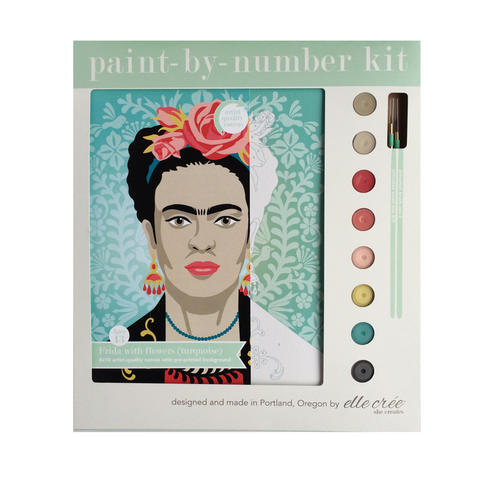 Turquoise Frida with Flowers Paint-by-Number Kit