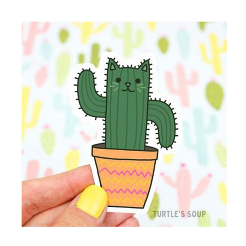 Prickly Paw Cactus Cat Vinyl Sticker