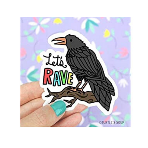 Let's Rave Raven Vinyl Sticker