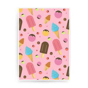 Ice cream pattern design funny print poster framed wall art decor - Graphic Gear