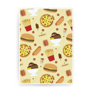 Junk food pattern design funny print poster framed wall art decor - Graphic Gear
