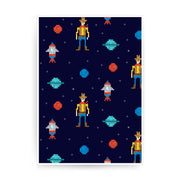 Space cowboy pattern design illustration print poster framed wall art decor - Graphic Gear