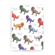 T-rex colorful pattern design funny illustration print poster framed wall art decor - Graphic Gear