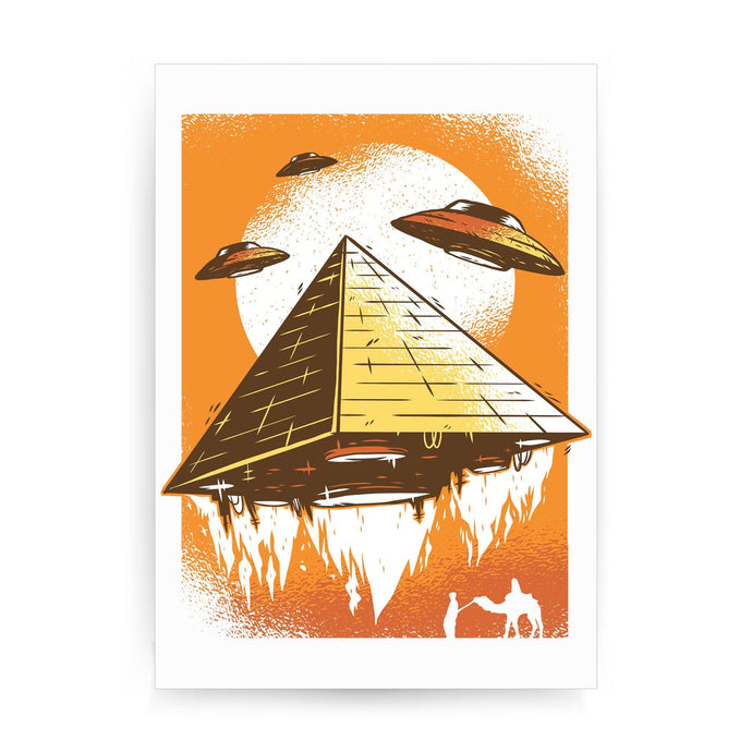 Pyramid ufo funny print poster framed wall art decor