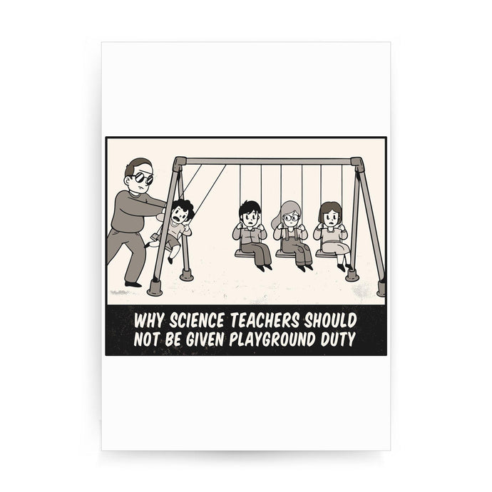 Science teacher funny print poster framed wall art decor
