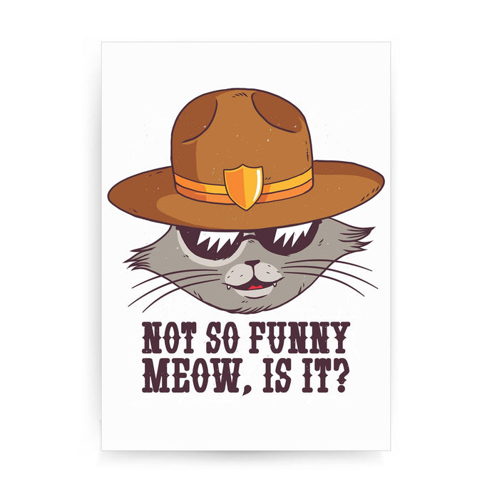 Sheriff cat funny  print poster framed wall art decor