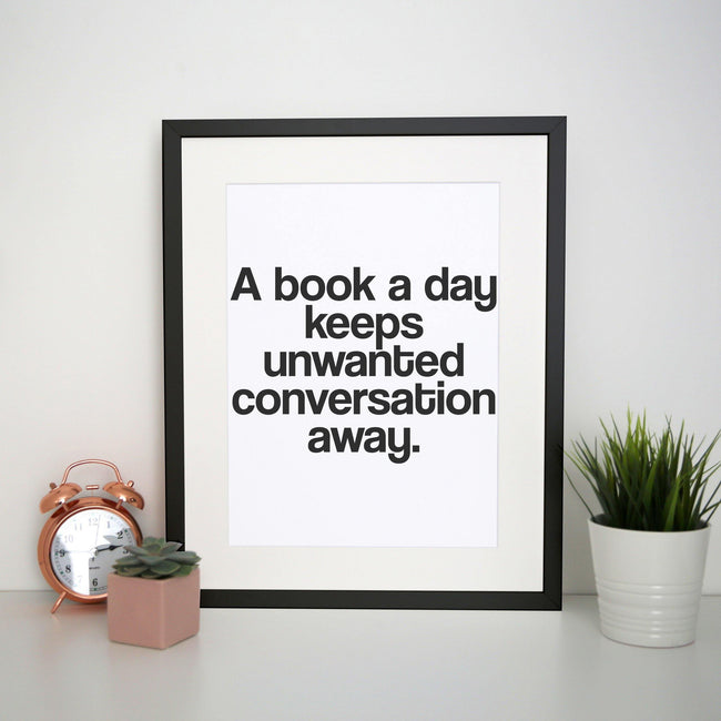 A book a day funny reading print poster framed wall art decor - Graphic Gear