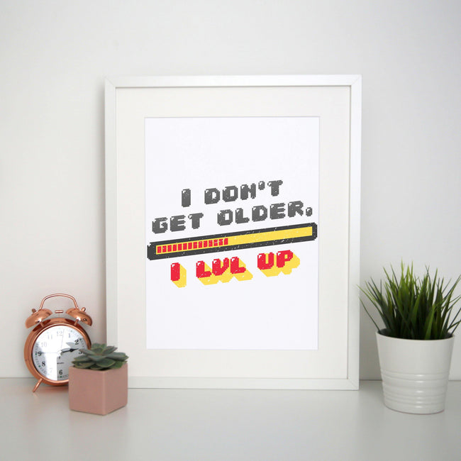 Level up funny print poster framed wall art decor - Graphic Gear