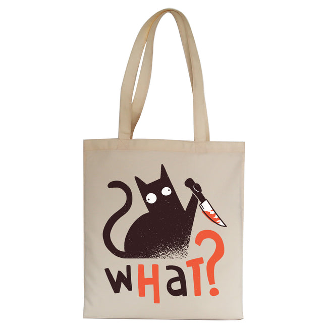Murder cat funny Tote Bag Canvas Shopping - Graphic Gear
