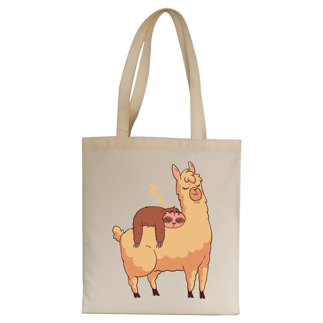 Sloth riding llama funny Tote Bag Canvas Shopping - Graphic Gear