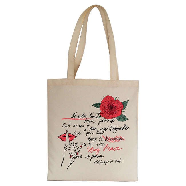 Stay brave writing design tote bag canvas shopping