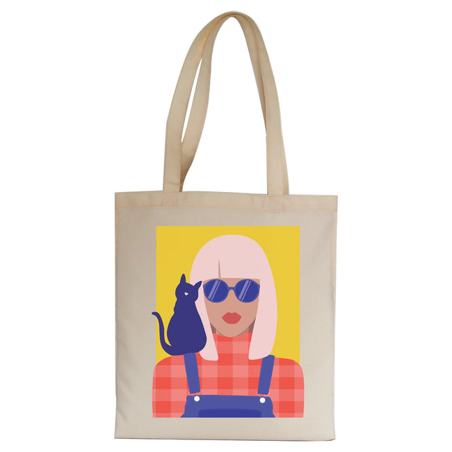 Stylish girl with cat illustration graphic tote bag canvas shopping - Graphic Gear