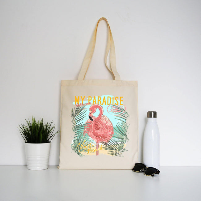 My paradise flamingo illustration tote bag canvas shopping - Graphic Gear