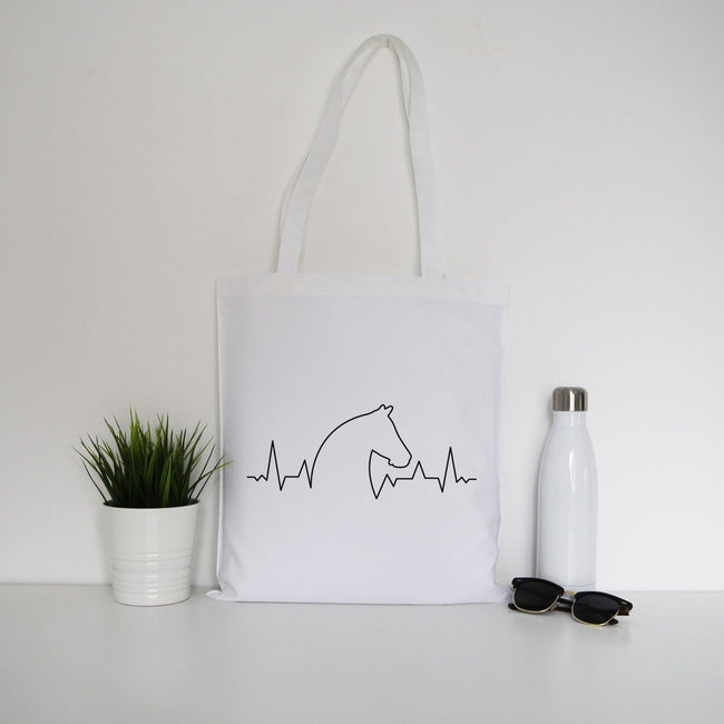 Horse heartbeat tote bag canvas shopping - Graphic Gear