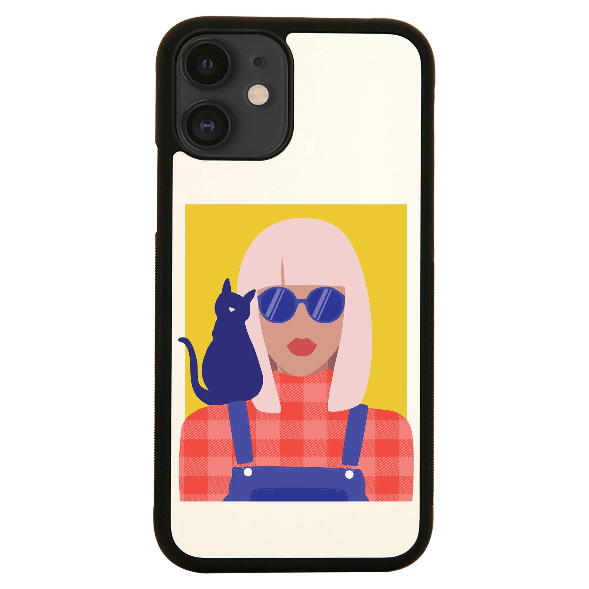 Stylish girl with cat illustration graphic case cover for iPhone ...
