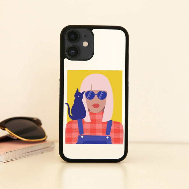 Stylish girl with cat illustration graphic case cover for iPhone 11 11pro max xs xr x
