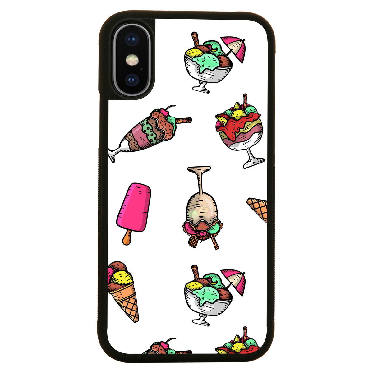 Cartoon Ice Cream Pattern Funny Illustration Design Iphone Case Cover 11 11pro Max Xs Xr X Graphic Gear