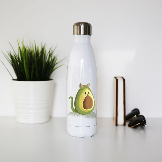 Avocado cat funny water bottle stainless steel reusable - Graphic Gear