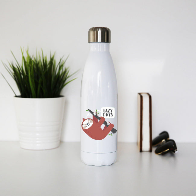 Cute sloth funny illustration water bottle stainless steel reusable - Graphic Gear